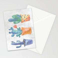 Three Blue Cacti Stationery Cards