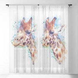 Giraffe Watercolor Portrait Sheer Curtain
