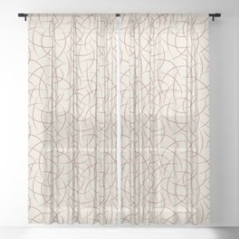 Terracotta Brown Abstract Crescent Moon Shape Pattern on Creamy Off White Pairs to Cavern Clay Sheer Curtain