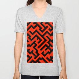 Black and Scarlet Red Diagonal Labyrinth Unisex V-Neck