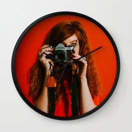 photographer in red Wall Clock