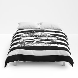 Gorgeous Skull With Flower Crown - Black and White Stripes Comforters