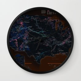 National Parks Trail Map Dark Neon Wall Clock