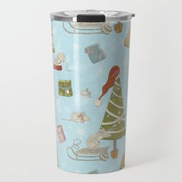 From Mice And Christmas - Cute teal X-Mas Pattern Travel Mug