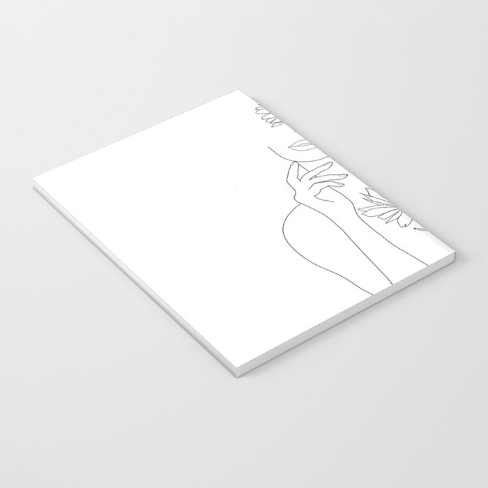 Minimal Line Art Woman with Flowers III Notebook