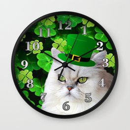 St. Patrick's Day Irish Cat Wall Clock