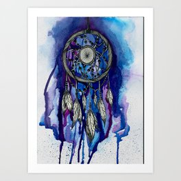 Purple Ink Dreamcatcher Art Print