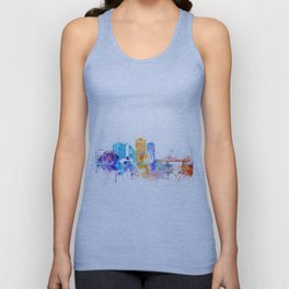 New Orleans Watercolor Skyline Unisex Tank Top