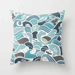 Whales in Waves Throw Pillow