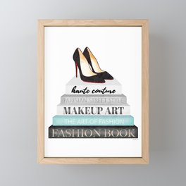 Shoes, Red sole,Books, Fashion books, Gray, Teal, Fashion, Fashion art, fashion poster, fashion wall Framed Mini Art Print