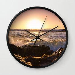Wave splash against pink sunset - Landscape Photography Wall Clock
