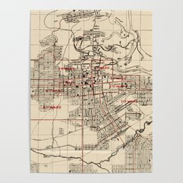 Vintage Map of Butte Montana (1909) Poster