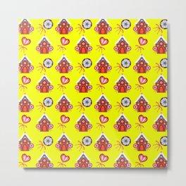 gingerbread houses, colorful sweet lollipops. Retro vintage cozy snug homey Christmas pattern Metal Print