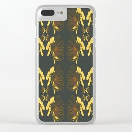 Art Nouveau Poppy Abstract Butterfly Pattern Clear iPhone Case