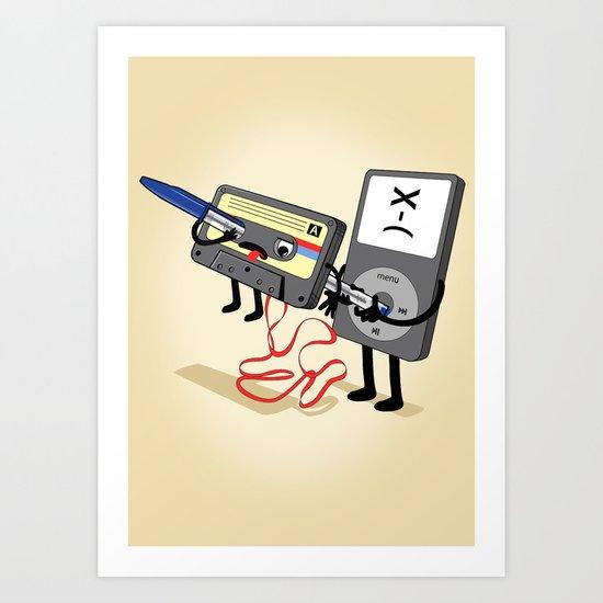 Killer Ipod Clipart (Murder of Retro Cassette Tape) Art Print