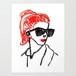 sunglasses and red hair Art Print