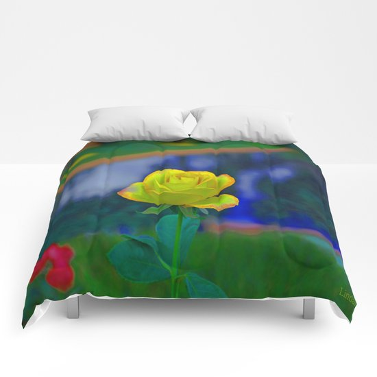 Yellow Colorful Rose Comforters