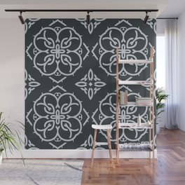Decorative Floral Pattern 22 - Outer Space Blue, Geyser Silver Blue Wall Mural