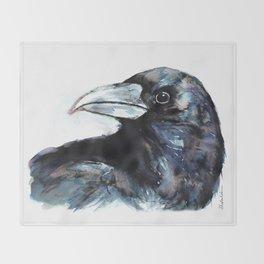 Raven, Watercolor Throw Blanket