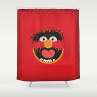 muppets Shower Curtains featuring The Muppets Show Vintage Art Animal Retro Style Minimalist Poster Print by The Retro Inc