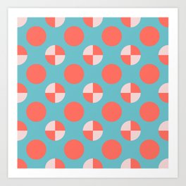 Blushed Coral Dots Art Print
