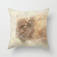 bison Throw Pillows featuring Bison by Peaky40