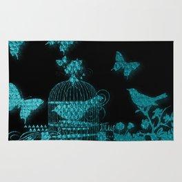 teal bird butterflies pattern Rug