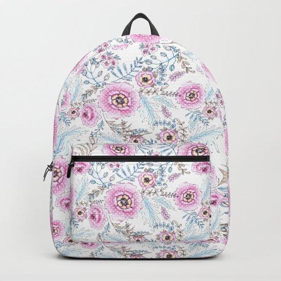 Watercolor . Pink flowers . Backpack