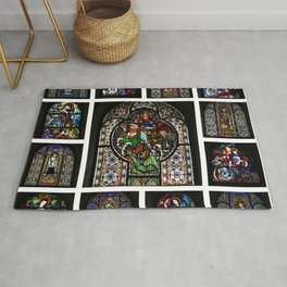 Stained Glass Windows Collage Rug