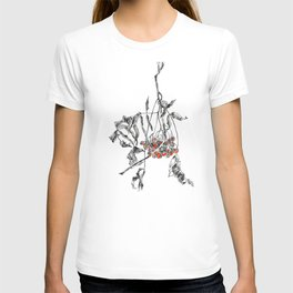 rowan branch with dried leaves and berries T-shirt