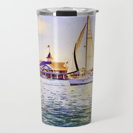 Sailboat at Newport Beach Watercolor Travel Mug