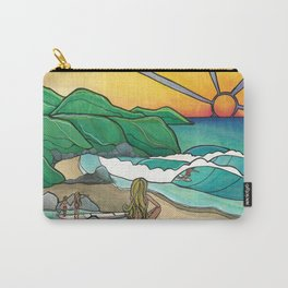 Surf Family Beach Lovers Art by Lauren Tannehill Art Carry-All Pouch