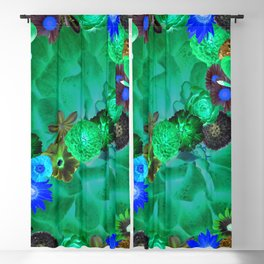 Flower explosion in green and blue Blackout Curtain