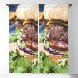 Burger with cheddar cheese food photography Blackout Curtain