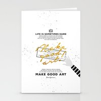 neil gaiman Stationery Cards featuring Make Good Art - Neil Gaiman by thatfandomshop