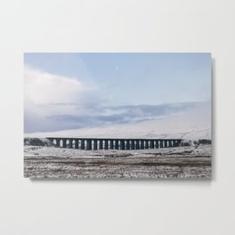 Snow and Moon over the Ribblehead Viaduct. Settle to Carlisle Railway, North Yorkshire, UK. Metal Print