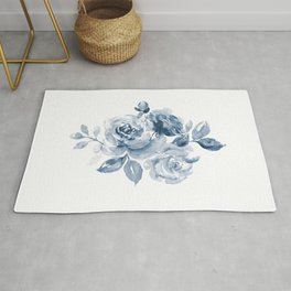 Blue and White Rose Bouquet Rug
