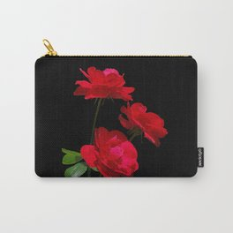 Red roses on black background Carry-All Pouch