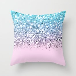 Sparkly Unicorn Blue Lilac & Pink Ombre Throw Pillow