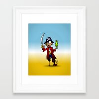pirate Framed Art Prints featuring Pirate by Cardvibes.com - Tekenaartje.nl