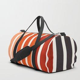 Burnt Sienna Minimalist Abstract 15 Stripes Watercolor Gradient Duffle Bag