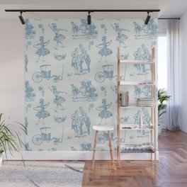 French Toile in Pigeon Blue Wall Mural