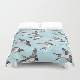 Blue Sky Swallow Flight Duvet Cover