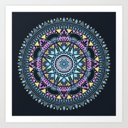Blue Bohohemian Pattern Art Print