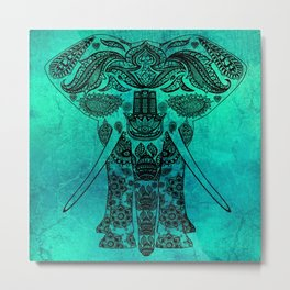 Ornate Patterned Elephant Metal Print