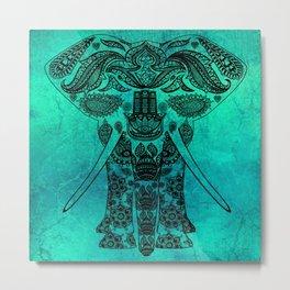 Decorated Indian Elephant Asian Elephant Art Metal Print