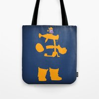 thanos Tote Bags featuring The Overmaster (Thanos) by Timmy D. Matias