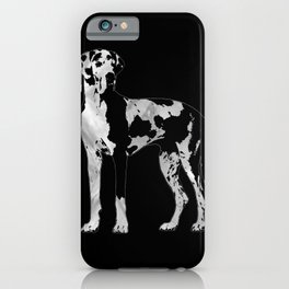 Harlequin Great Dane  -pearl and silver iPhone Case
