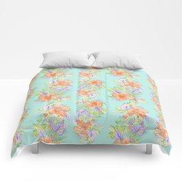 tropical hawaiian flowers aqua Comforters