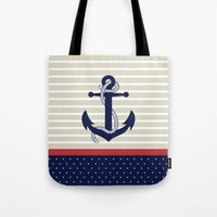 navy Tote Bags featuring Navy by Vickn